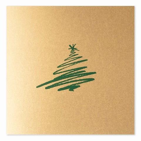 Weihnachtskarte Tannen-Schwung grün quadratisch