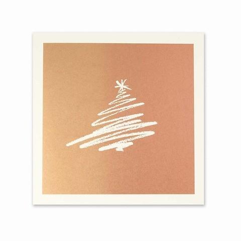 Weihnachtskarte Tannen-Schwung bronze quadratisch