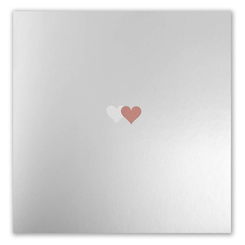 Grußkarte Double Heart silber/bronze quadratisch spiegel