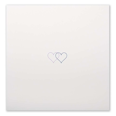 Grußkarte Double Heart blau/flieder quadratisch Opal ecru