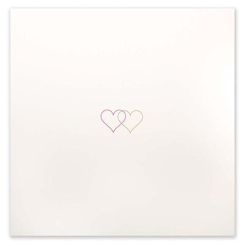 Grußkarte Double Heart neonpink quadratisch Opal ecru