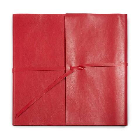 Gästebuch Leder Dolce mit Band 21x21 cm 96 Blatt rot