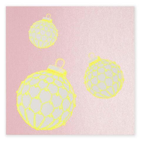 Weihnachtskarte 'christmas bauble' neongelb rosa quadr