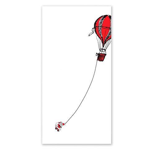 Weihnachtskarte Fesselballon Little Santa DIN lang smooth wh