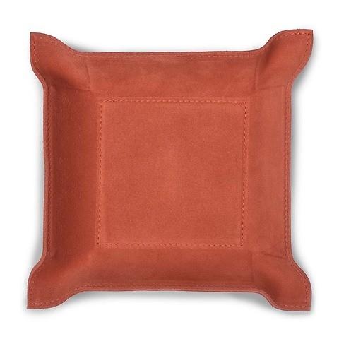 Accessoiretray Square Leder Nubuc 20x20 cm d-orange