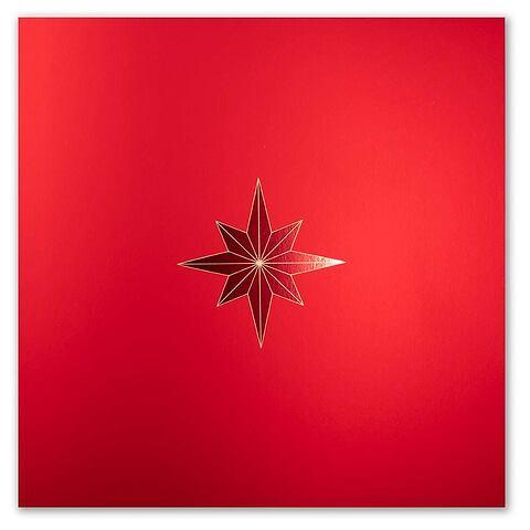 Weihnachtskarte 'La Stella' Pure Samt rot quadratisch