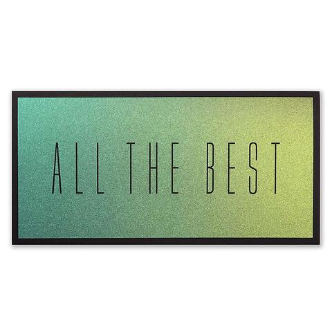 Grußkarte 'All the best' schwarz Effektpigmente DIN lang