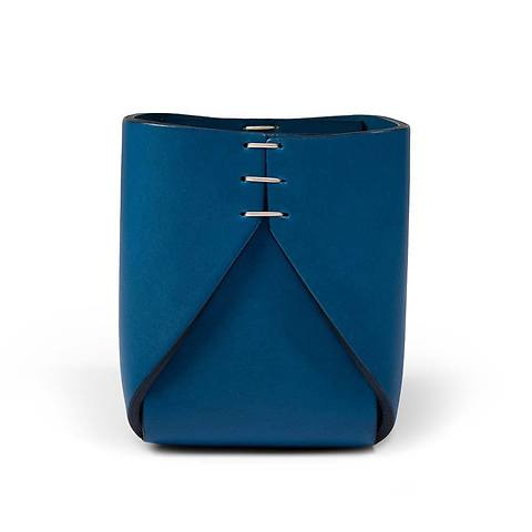 Stiftebecher Leder quadratisch 8x8x11 cm blau/blau