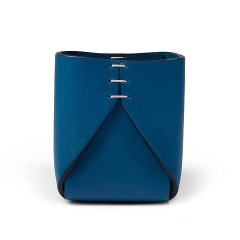 Stiftebecher Leder quadratisch blau