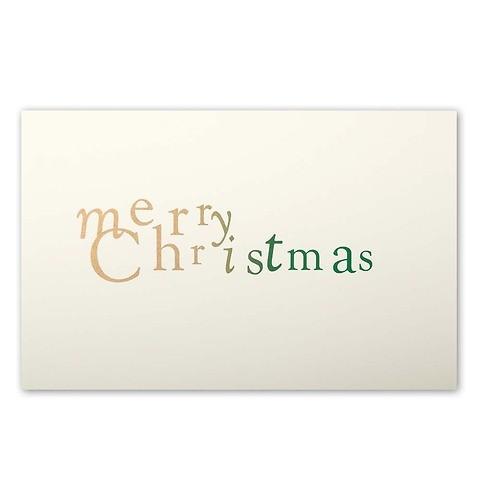 Weihnachtskarte merry christmas Mrs. Eaves Farbverlauf gold/