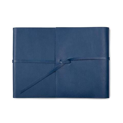 Fotoalbum Leder Dolce mit Band 20,5x15 cm blau, 25 Blatt