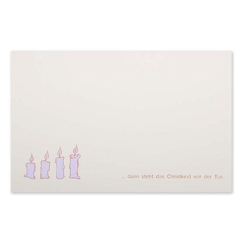 Weihnachtskarte Kerzen 'dann steht das Christkind' Pure sand