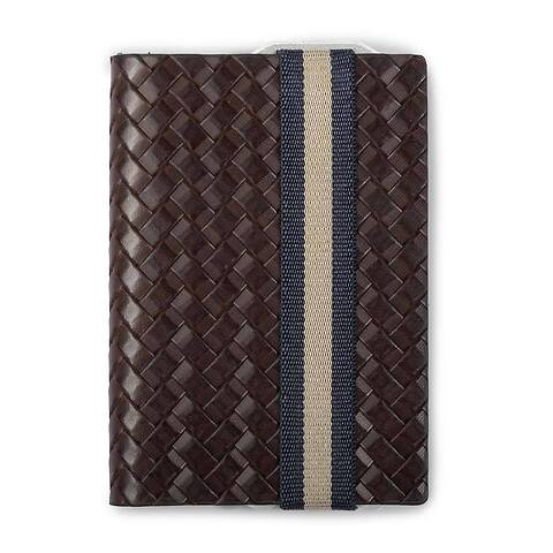 Q7 Wallet Leder Weave braun; Band blau