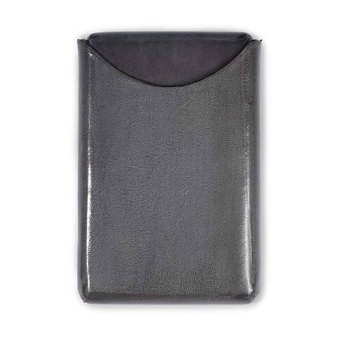 Visitenkartenbox Leder grau 10x6 cm