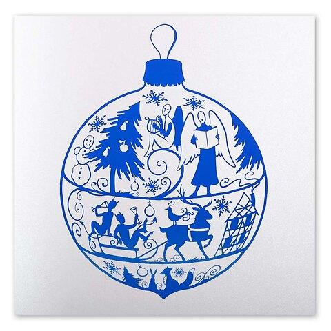 Weihnachtskarte Fairy light blau 21 x 21