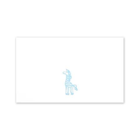 Grußkarte Zebra Mini hellblau smooth white