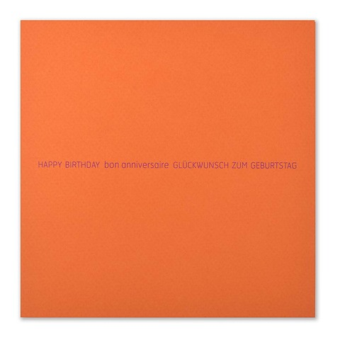 Grußkarte Geburtstag Text international quadratisch orange