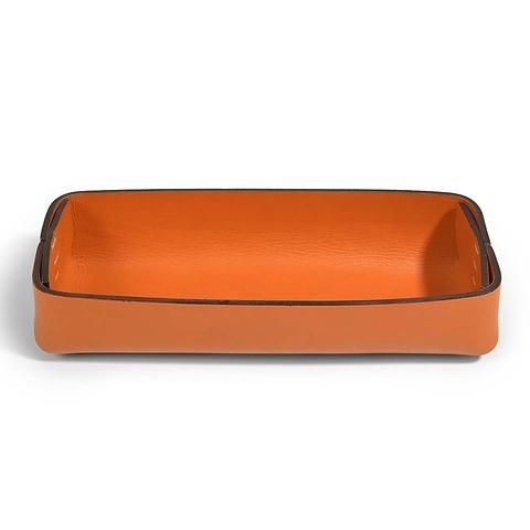 Stifteablagekasten Leder Stitch schmal orange/orange