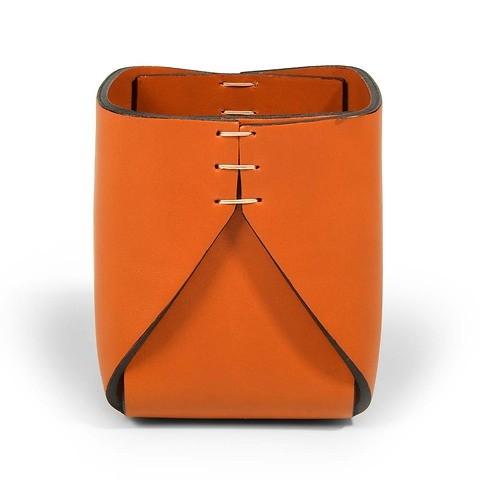 Stiftebecher Leder quadratisch 8x8x11 cm orange/orange