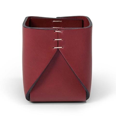 Stiftebecher Leder quadratisch 8x8x11 cm bordeaux/bordeaux