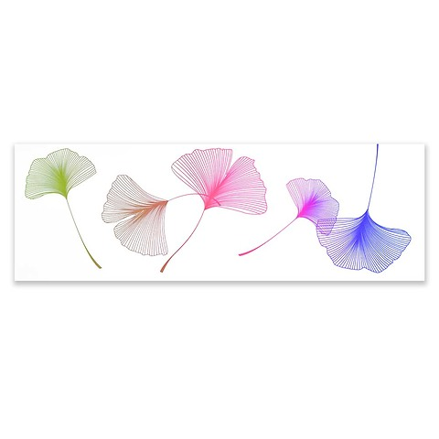 Grußkarte Ginkgo extra lang Farbverlauf