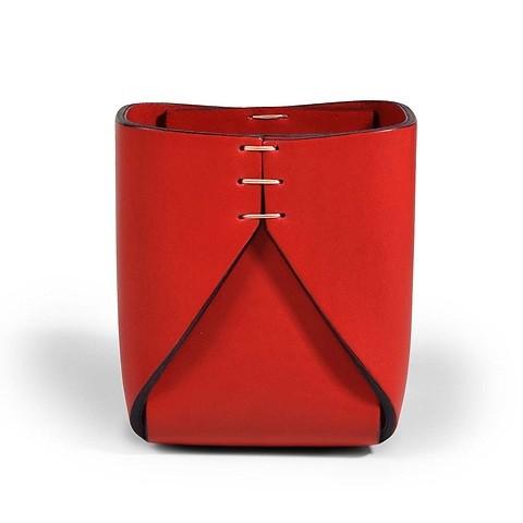 Stiftebecher Leder quadratisch rot