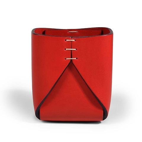 Stiftebecher Leder Stitch quadratisch 8x8x11 cm rot/rot