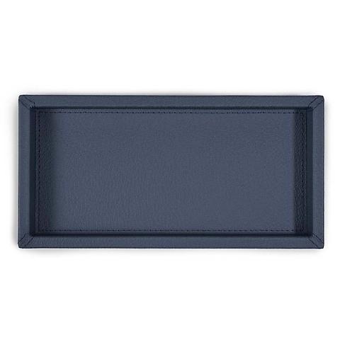 Tray quer Leder Calf Boar d-blau 12x24x3 cm