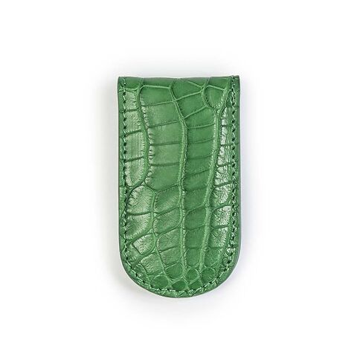 Geldclip Magnet Leder Alligator grün