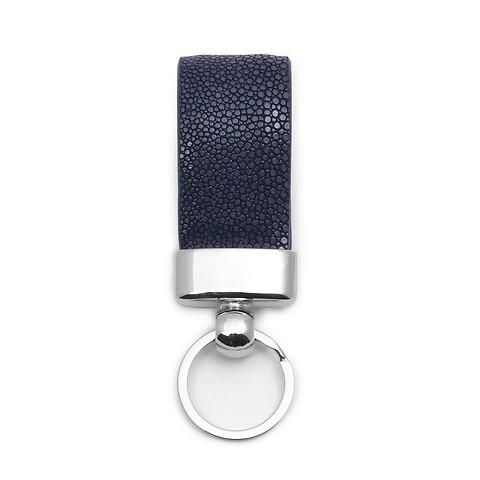 Schlüsselanhänger Leder Rochen navy