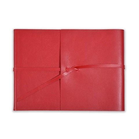 Fotoalbum Leder Dolce mit Band 20,5x15 cm rot, 25 Blatt
