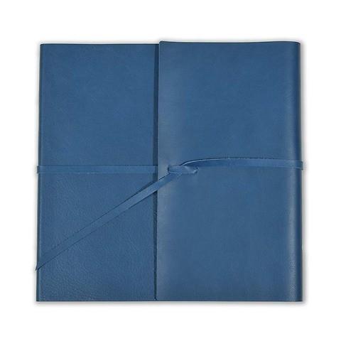 Gästebuch Leder Dolce mit Band 21x21cm 96 Blatt blau