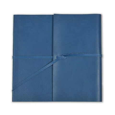 Gästebuch Leder Dolce mit Band 21x21cm blau, 96 Blatt