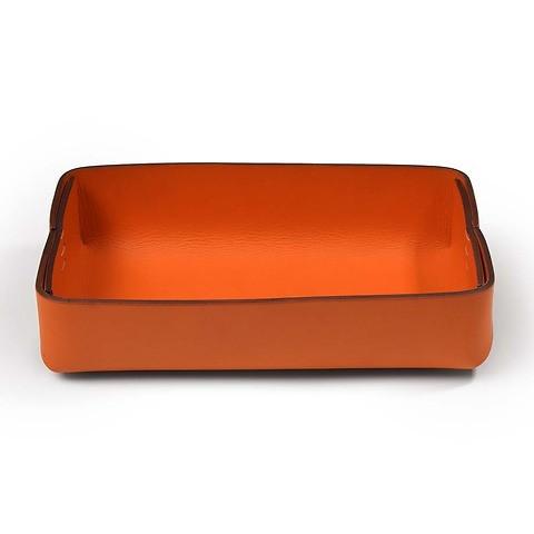 Stifteablagekasten Leder Stitch breit orange
