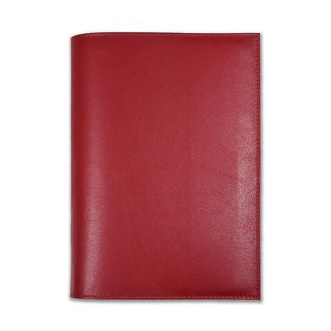 Buchhülle für DIN A5 Bücher Leder dunkelrot