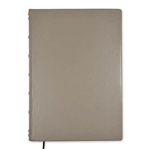 Gästebuch A4 Leder 144 Blatt blanco taupe