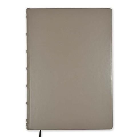 Gästebuch A4 Leder 144 Blatt blanco Goldschnitt taupe
