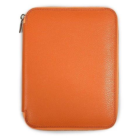 Schreibmappe A4 Zip, Leder Lux; orange
