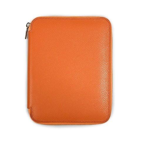 Schreibmappe A5, Zip, Leder Lux; orange