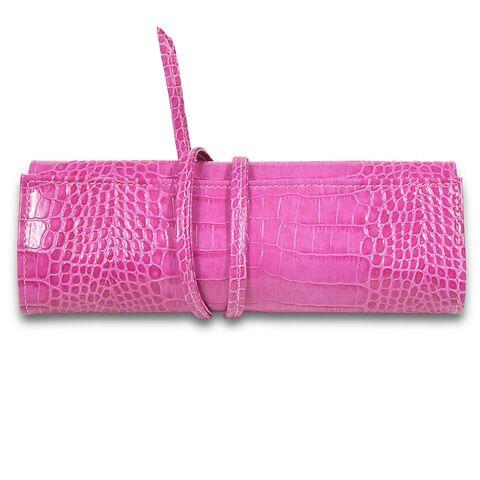 Schmuckrolle Band Leder Calf mit Croco-Prägung; pink