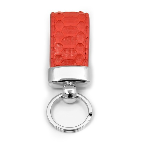 Schlüsselanhänger Leder Python rosso