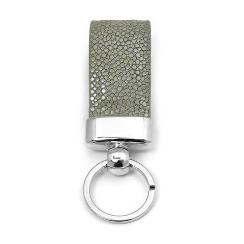 Schlüsselanhänger Leder Rochen perla-grau