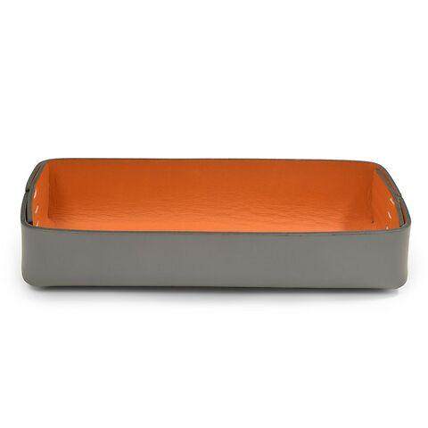 Stiftablagekasten Leder Stitch schmal grau/orange