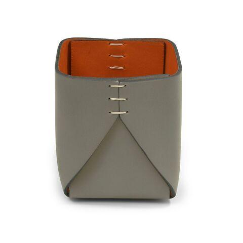 Stiftebecher Leder quadratisch grau/orange