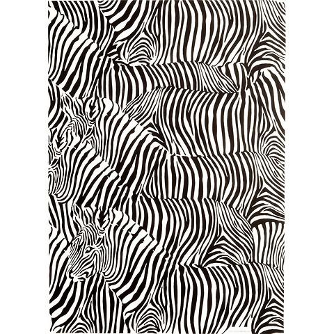Bethge Geschenkpapier Zebra schwarz-weiß 50 x 70 cm, 3 Bögen