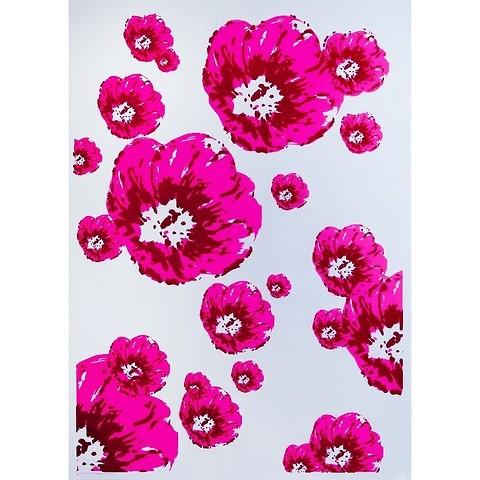 Bethge Geschenkpapier Klatschmohn pink 50 x 70 cm, 3 Bögen