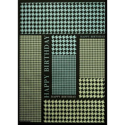 Bethge Geschenkpapier Hahnentritt B-Day sw. 50 x 70 cm, 3 Bg