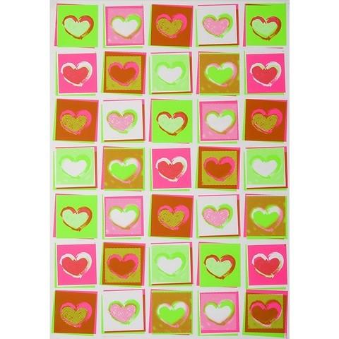 Bethge Geschenkpapier Herz Neon Pop Art 50 x 70 cm, 3 Bögen