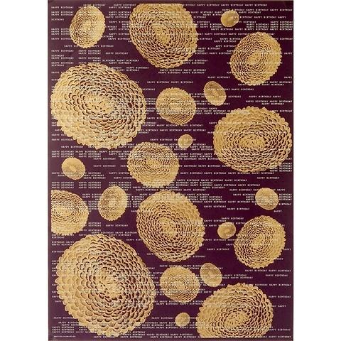 Bethge Geschenkpapier Blume B-Day gold/aub. 50 x 70 cm, 3 Bg