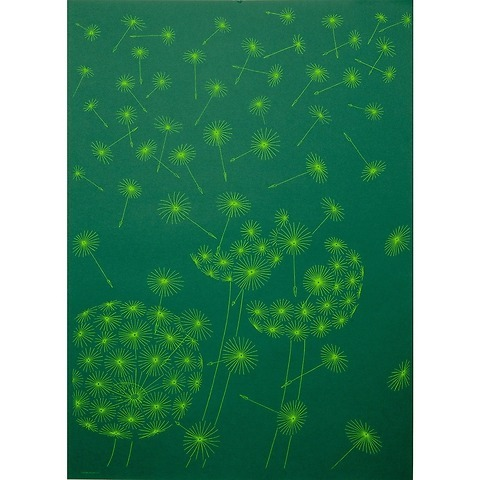 Bethge Geschenkpapier Pusteblume grün 50 x 70 cm, 3 Bögen